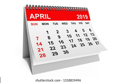2019 year calendar. April calendar on a white background. 3d rendering