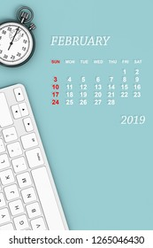 2019 year calendar. February calendar with Stopwatch and Keyboard. 3d Rendering