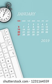 2019 year calendar. January calendar with Stopwatch and Keyboard. 3d Rendering