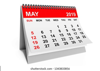 2019 year calendar. May calendar on a white background. 3d rendering