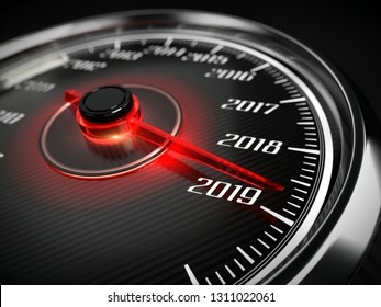 2019 year car speedometer concept. 3d rendering