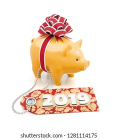 The 2019 Year of the Pig of the Chinese Zodiac. Festive coin bank tied with a gift red bow behind of a label which is decorated with the number of 2019. 3D rendering image.