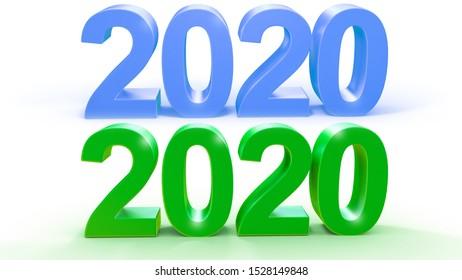2020 3d text green blue