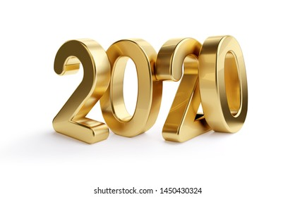 2020 bold letters golden isolated 3d-illustration