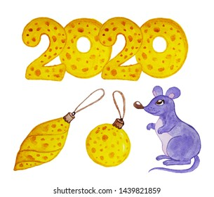 2020 in cheese shape with hungry character mouse set. Year of the rat. Illustration watercolor concept Christmas fonts. Chinese symbol of the new year 2020 holiday packing, postcard, poster. Toys