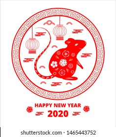 2020 Chinese New Year greeting round card with red rat silhouette, clouds, lantern, flowers on white background. Symbol of mouse flat design, plate, dish pattern for flyer, poster, web, app.