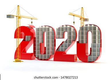 2020 and cranes - red, 3D illustration