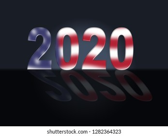 2020 Election Us Presidential Vote For Candidates. United States Political Referendum Campaign - 3d Illustration