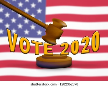 2020 Election Vote Usa Presidential Vote For Candidates. United States Political Referendum Campaign - 3d Illustration