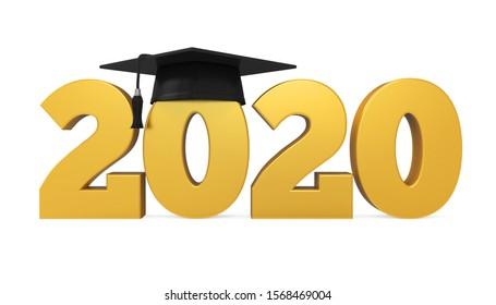 2020 Graduation Cap Isolated. 3D rendering