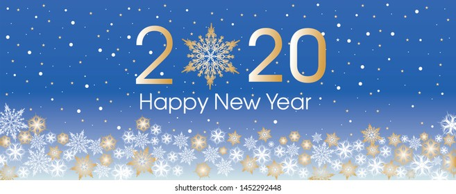 2020 Happy New Year card template. Design patern snowflakes white, gold and blue color.