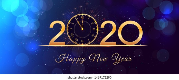 2020 Happy New Year eve glowing text design with vintage gold clock on blue background with bokeh effect, glitter and falling snow. Holiday banner, poster or greeting card template. Year of the rat
