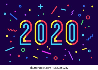 2020, Happy New Year. Holiday background, poster. Geometric memphis bright style for Happy New Year 2020 or Merry Christmas. Greeting card with inscription Happy New Year 2020. Illustration