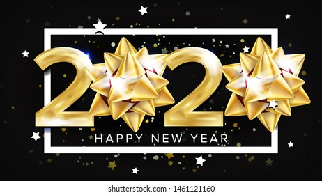 2020 Happy New Year Party Elegant Banner . Golden Glossy Two Thousand Twenty 2020 Number White Frame Stars And Rounds On Black Background. Greeting Poster Realistic 3d Illustration
