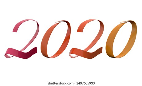 2020 New Year Digits Analogy Colors Purple Orange Yellow Glossy Metallic Ribbon Title 3D Render In 8K Resolution Isolated on White Background