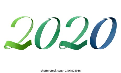 2020 New Year Digits Analogy Colors Green And Blue Glossy Metallic Ribbon Title 3D Render In 8K Resolution Isolated on White Background