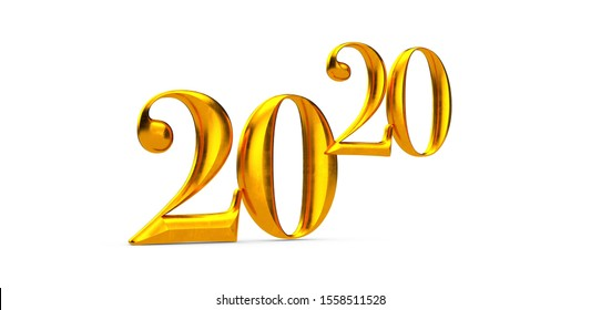 2020 New Year isolated on Background. 3d Illustration