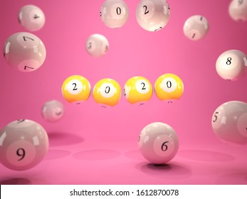 2020 New Year sign on lottery balls over pink background. 3D illustration