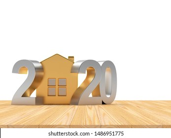 2020 New Year silver numbers and golden house icon on the wooden floor. 3D illustration