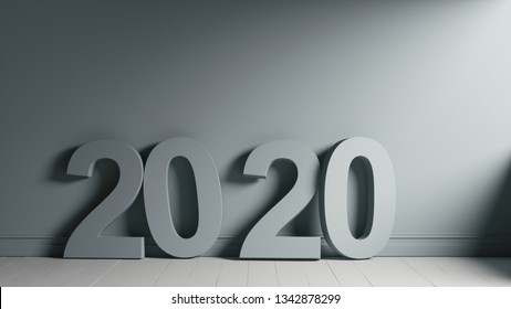 2020 Number Text Shape on Wooden Floor Against Grey Wall. 3d illustration of 2020 year. The massive number 2020 in a dark room