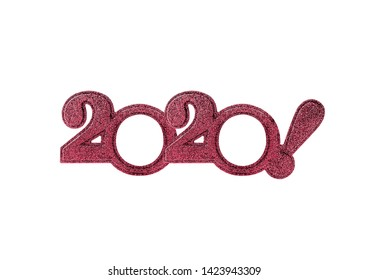 2020 numbers isolated. Two thousand and twentieth New Year Holiday glasses in the form of figures two thousand and twentieth year on a white background.