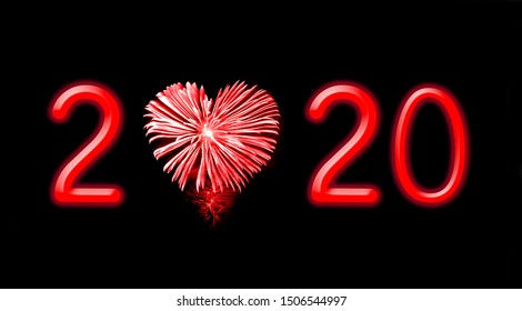 2020, red fireworks in the shape of a heart holiday card
