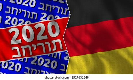 2020 Title and Germany Flag - 3D Illustration - Israel Language Translation: Election 2020