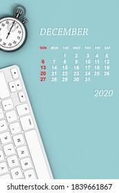 2020 year calendar. December calendar with Stopwatch and Keyboard. 3d Rendering