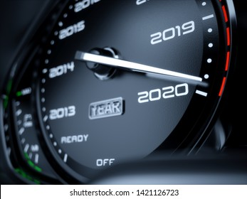 2020 year car speedometer countdown concept. 3d rendering illustration