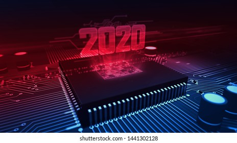 2020 year glowing hologram over working cpu in background. Modern and futuristic 3D illustration.
