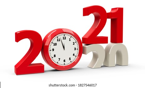 2020-2021 change with clock dial represents coming new year 2021, three-dimensional rendering, 3D illustration