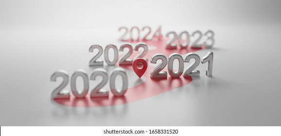 2020-2024 Metal letters on white background Concept for vision year 2020-2024. selective focus 2021.3d rendering.