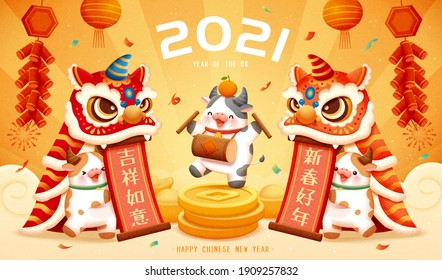2021 3d CNY poster with cute cows performing lion dance show. Concept of Chinese zodiac sign ox. TRANSLATION: Happy Chinese new year, May you be safe and lucky.