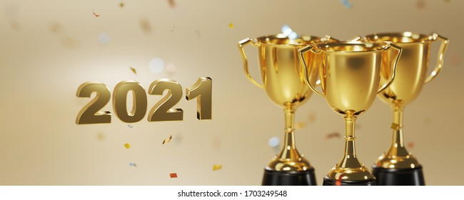 2021 and golden trophy award with falling confetti. copy space for text. concept for champion year 2021.  3d rendering.
