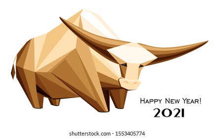 2021 Happy New Year greeting card. Celebration white background with Ox and place for your text. Graphic icon of Chinese Year of the Ox 2021. Horizontal banner. Lunar horoscope sign. Illustration