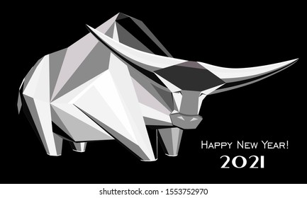2021 Happy New Year greeting card. Celebration black background with Ox and place for your text. Graphic icon of Chinese Year of the Ox 2021. Horizontal banner. Lunar horoscope sign. Illustration