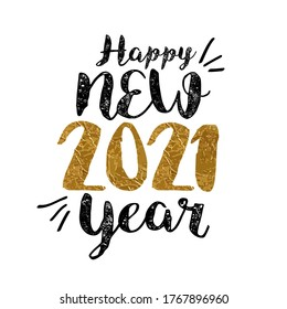 2021 Happy New Year greeting card with lettering, illustration isolated on white