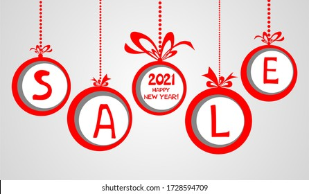 2021 Happy New Year. Sale. Christmas sale label. Horizontal posters, greeting cards, header, website. Red Card with Christmas balls. Card or Christmas themed invitations. Illustration