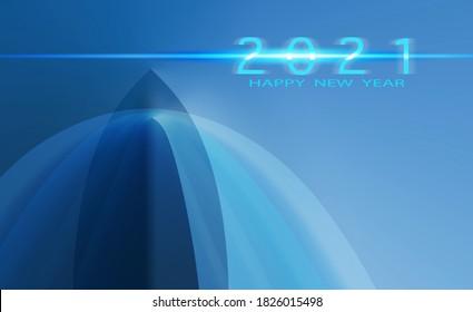 2021 Feliz Año Nuevo Mundial, Transportación, Armada Militar, Logística, Viajes en crucero, trasfondo de barco abstracto. ilustración