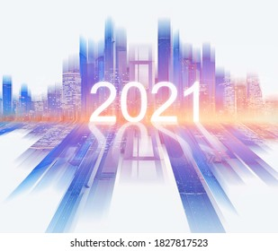 2021 new year, abstract colorful buildings background. 3D illustration