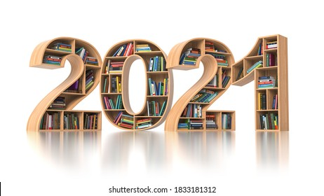 2021 new year education concept. Bookshelves with books in the form of text 2021. 3d illustration