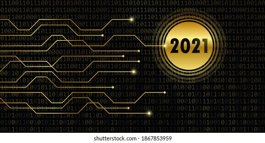 2021 new year on binary code background illustration