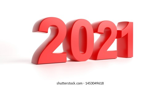 2021 New year. 2021 in red digits isolated against white background. 3d illustration