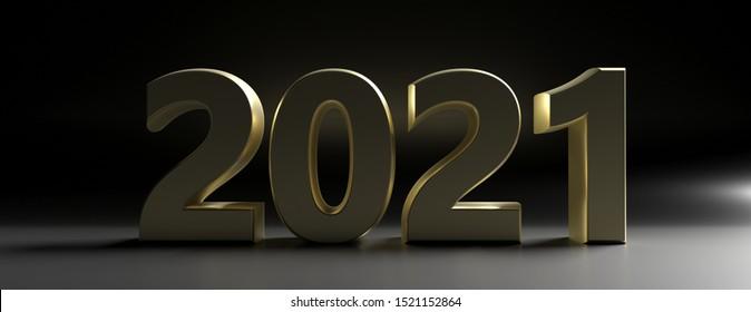 2021 New year. Shiny gold sign, number 2021 on black background, banner. 3d illustration