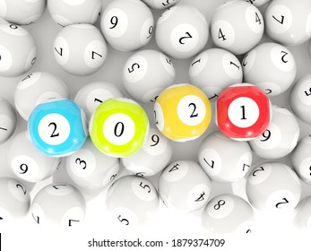 2021 New Year sign on lottery balls over blue background. 3D illustration