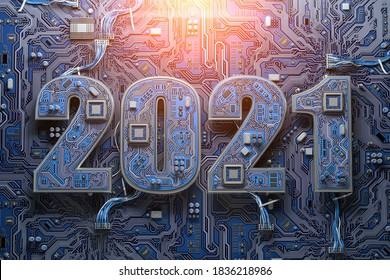 2021 on circuit board or motherboard with cpu. Computer technology and internet commucations digital concept background. Happy new 2021 year. 3d illustration