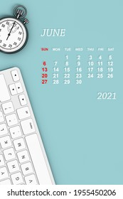 2021 year calendar. June calendar with Stopwatch and Keyboard. 3d Rendering