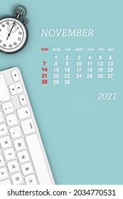 2021 year calendar. November calendar with Stopwatch and Keyboard. 3d Rendering