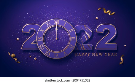 2022 Happy New Year's Eve countdown poster, suitable for luxury party invitation. Layout with luxury numbers, clock, golden glitter and confetti.