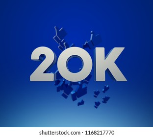 20k, 20000 followers. thank you for with a special design for your support, 3d render, celebrate of subscriber.